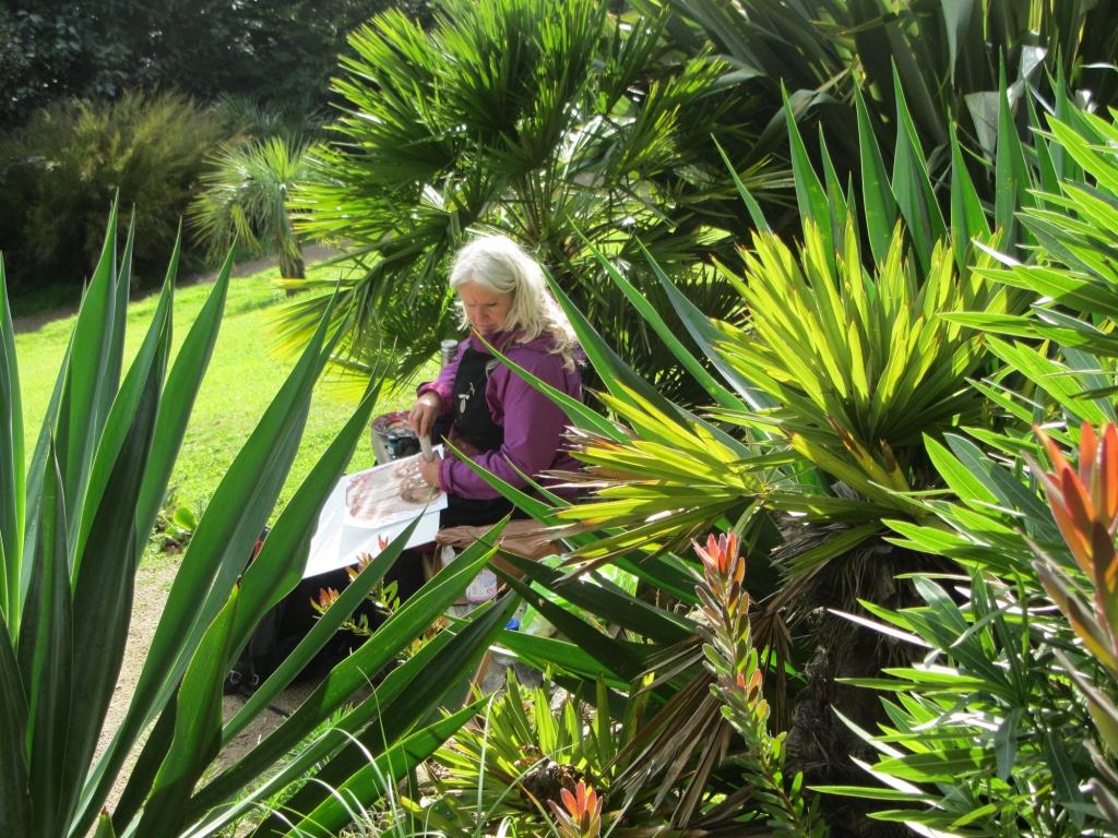 Artist Kate Walters working during Wet Auction 2016 at Tremenheere Sculpture Garden