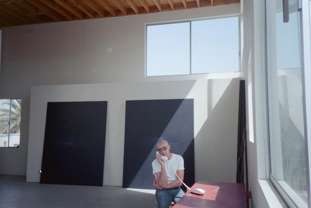 Photograph of painter Robyn Denny in his LA studio, on show at Newlyn Art Gallery & The Exchange
