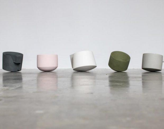 Ceramics by Derek Wilson in the Studio Cafe at Newlyn Art Gallery